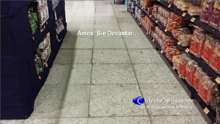 Desbastado y pulido de piso de terrazo en superama tres for Pulido de pisos de granito